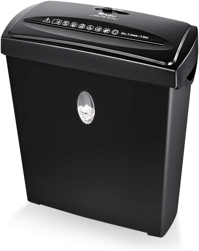 RAGU Paper Shredder, 6-Sheet Capacity Cross-Cut Paper and Credit Card Shredder with Paper Jam Proof System, 2.9 Gallon