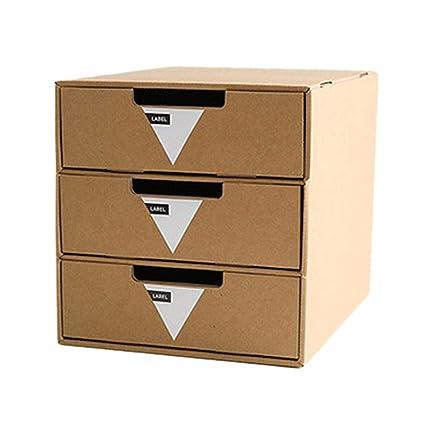 QueenHome Caja De Almacenamiento De Cartón Caja De Almacenamiento De Archivos De Escritorio De Oficina Oficina