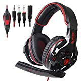 SADES SA810 Stereo Gaming Headset for Xbox One, PC, PS4 Over-Ear Headphones with Noise Canceling Mic, Soft Ear Cushion, 3.5mm Jack Cable for Mac Laptop Tablet Smartphone(BlackRed)