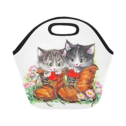 InterestPrint Insulated Lunch Tote Bag Funny Cat in Boots Reusable Neoprene Cooler, Watercolor Kitten Flowers Portable Lunchbox Handbag for Men Women Adult Kids Boys Girls