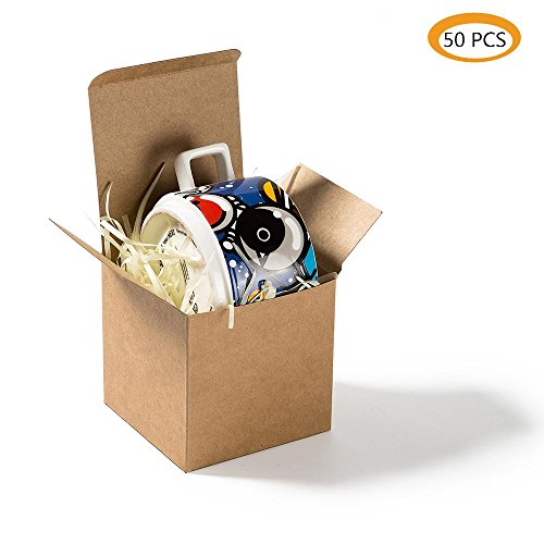 ZOOYOO Kraft Candy Boxes 3.5 x 3.5 x 3.5 Inches, Kraft Cardboard Gift Boxes with Lids for Gifts, Crafting, Cupcake Boxes,50pcs by ZOOYOO