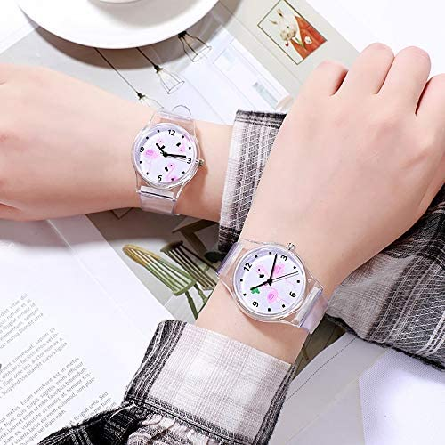 Montre Fille Tempérament Casual étudiants Montre Enfants Flamingo Motif Fille Coeur Jelly Couleur Montre de Silicone Ajustable 3