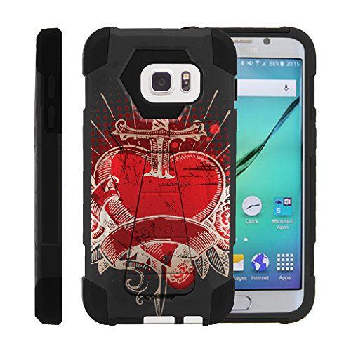 MINITURTLE Case Compatible w/ Galaxy S7 Case, Dual Layer Shell SHOCK Impact Stand Case w/ Unique Graphic Images Samsung S7 Pierced Heart