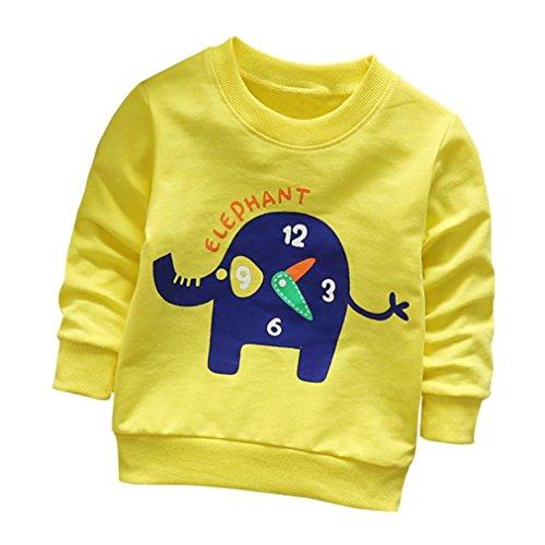 - AliveGOT Baby Solid Long Sleeve Sweatshirts Clothing Boys Girls Elephant Print O Neck Tops T Shirt (Yellow, 12 Months)