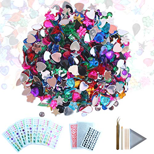 CozYours 600 pcs Acrylic Flatback Rhinestones & 1080 pcs Self-Adhesive Rhinestone Stickers Embellishments for Crafts