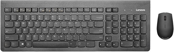 Lenovo 500 Wireless Combo Keyboard & Mouse, Full-Sized Keyboard, 1000 DPI Resolution Mouse, 2.4 GHz Wireless Connection, Long Battery Life, Desktop, Laptop, GX30N71805, Black