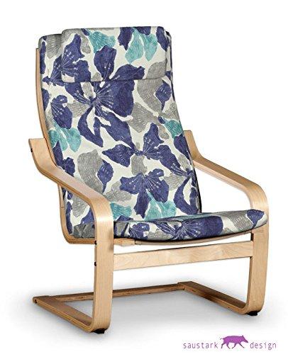 saustark design marbella cover for ikea poang dala armchair floral blue gutschein
