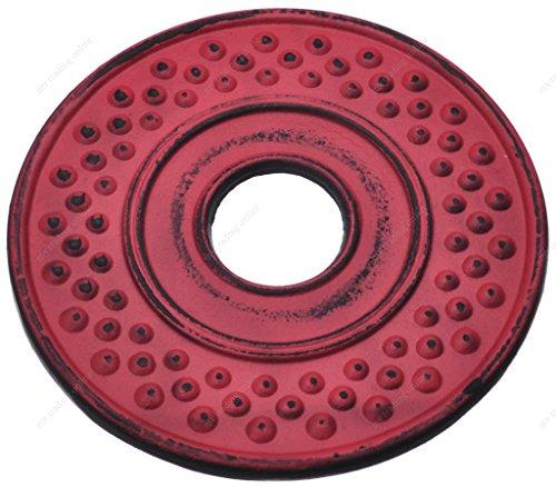 (M.V. Trading T7023RD Cast Iron Trivet Mochi Design, 5½-Inch, Red)
