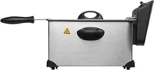 MEDION MD 18084 - Freidora, 2,000 vatios, carcasa de acero inoxidable de alta calidad, ajuste de temperatura hasta 190 ° C, depósito de aceite 3 L, Plateado: Amazon.es: Hogar