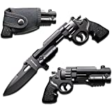 Rogue River Tactical Gun Pistol Revolver 44 Mag Folding Pocket Knife Spring Assisted Opening Folding Black with Holster 440 Blade