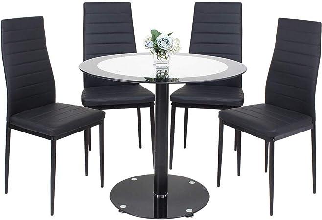 Table De Salle A Manger Avec 4 Chaises Moderne Ronde En Verre