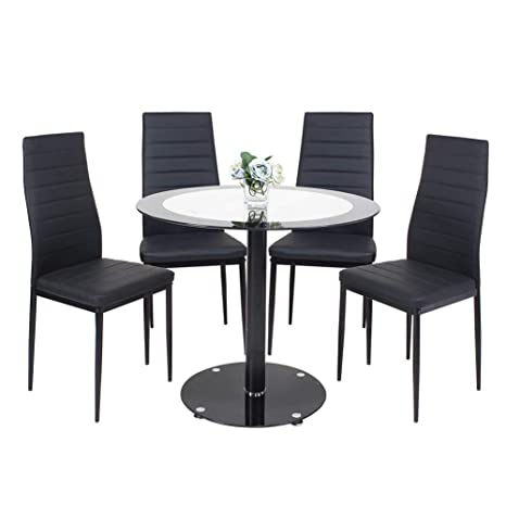 Pleasant Round Dining Table And Chairs Tempered Glass Round Pedestal Table And 4 Faux Leather Padded Chairs Kitchen Black Dining Table Set Unemploymentrelief Wooden Chair Designs For Living Room Unemploymentrelieforg