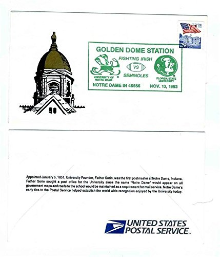 Golden Dome Station Notre Dame IN 1st Day Cover Fighting Irish Seminoles 1993