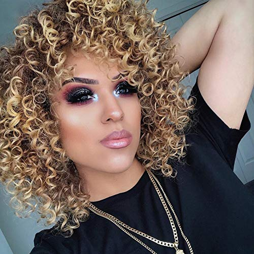 Afro Wig Short African American Wigs with Bangs Discount for Women Curly Hair (Blonde)