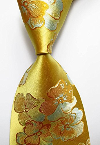 [MINDoNG Daily Floral Gold Purple JACQUARD WOVEN Silk Men's Tie Necktie GAG # 33117] (James Bond Womens Costumes)