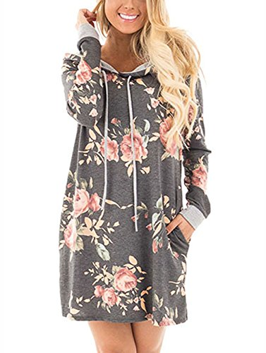 Girls Cute Dress for Graduation Party Night Long Sleeve Tunic Cheap Prom Hoodie Grey S