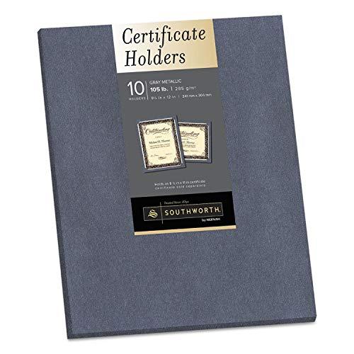 Southworth Certificate Holder, Gray, 105lb Linen Stock, 12 x 9 1/2, 10/Pack - 98869, 2 packs ()