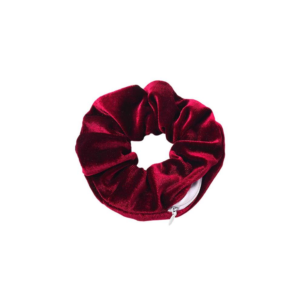 NNIOV HiddenZipper Scrunchies, Stash Pocket Scrunchie, Velvet Chiffon ElasticHair Tie, Bracelet, Perfect for Festivals, Concerts, Working out, Key Money Lipstick Storage Bag (SIMPLE DARK RED)