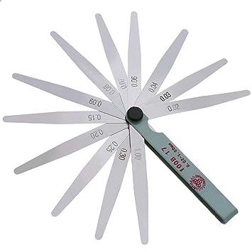 17 Cuchillas Bujía Espesor Espesor Brecha Métrica Calibrador Medidor Medición Métrica 0.02 a 1 mm Herramientas de medición de acero 300 mm: Amazon.es: ...
