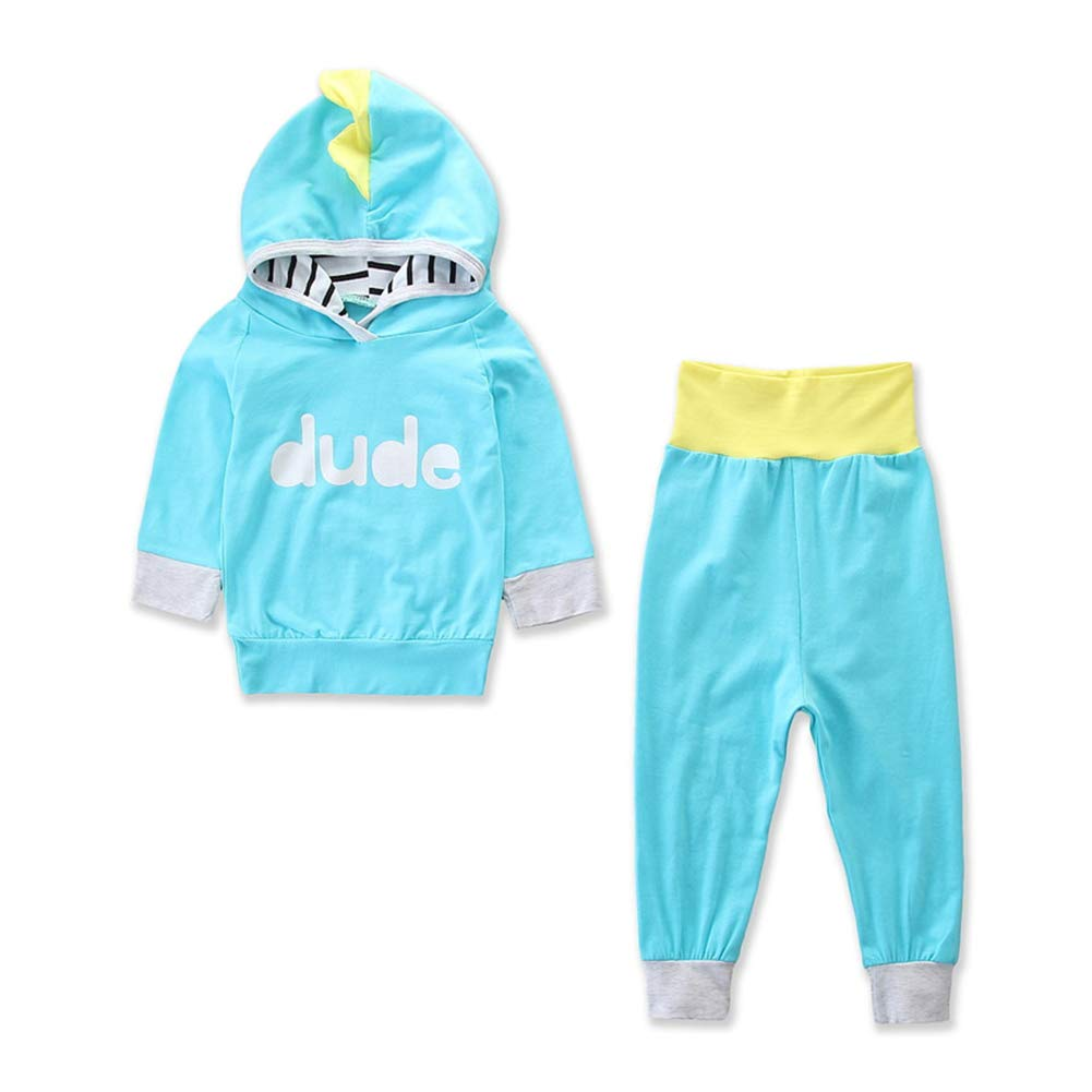 Toddler Baby Boys Girls Dinosaur Stitching Hoodie Tops Pants Outfit Clothes Set