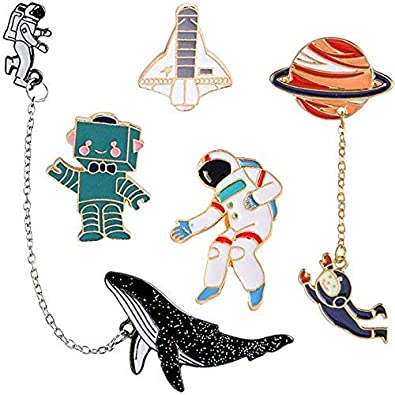 a5e2da936de GuassLee Cute Enamel Lapel Pin Set - Cartoon Brooch Pin Badges for Clothes  Bags Backpacks: Amazon.co.uk: Jewellery