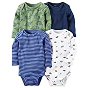 car Carter's Baby Boys 4-pack Long-sleeve Bodysuits (9 months, Blue Dino)