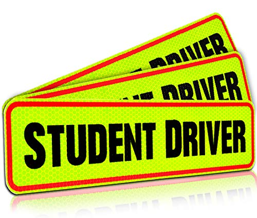 - Student Driver Magnet Car Signs for The Novice or Beginner. Better Than A Decal or Bumper Sticker (Reusable) Reflective Magnetic Large Bold Visible Text (12