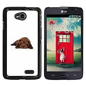 PC/Aluminum Funda Carcasa protectora para LG Optimus L70 / LS620 / D325 / MS323 Shar Pei Sleeping Puppy Brown Dog / JUSTGO PHONE PROTECTOR