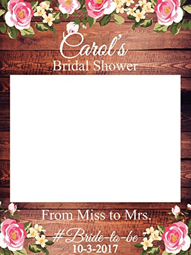 Custom Floral Bridal Shower Photo Booth Frame - Sizes 36x24, 48x36; Personalized Rustic Bridal Shower Decorations, Bridal Shower Photo Prop, wooden Bridal Shower, Handmade Party Supply Photo Booth (Photo Personalized Wooden)