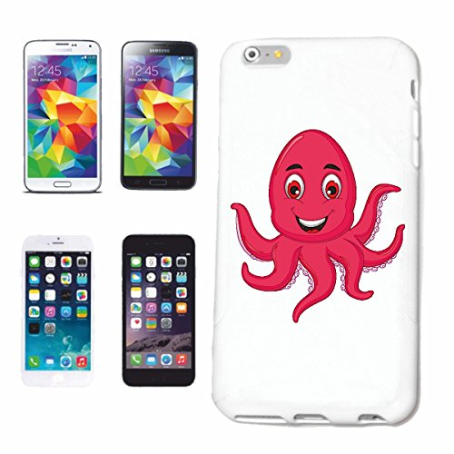 "cas de téléphone iPhone 6+ Plus ""OCTOPUS HEUREUX AVEC Tentakel GIANT OCTOPUS OCTOPUS huit bras OCTOPUS CUTTLEFISH"" Hard Case Cover Téléphone Covers Smart Cover pour Apple iPhone en blanc"