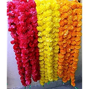Nexxa 10 Pack Mixed Artificial Marigold Flower Garlands/Strings 5 ft Long- for use in Parties, Celebrations, Indian Weddings, Indian Themed Event, Decorations, House 3