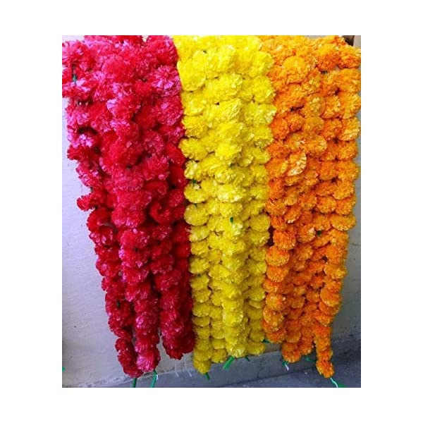 Nexxa 10 Pack Mixed Artificial Marigold Flower Garlands/Strings 5 ft Long- for use in Parties, Celebrations, Indian Weddings, Indian Themed Event, Decorations, House