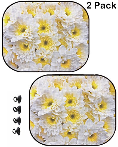 MSD Car Sun Shade Protector Block Damaging UV Rays Sunlight Heat for All Vehicles, 2 Pack Image ID 23898002 Bouquet of White gerbers Floral (Floral Pattern Shade)