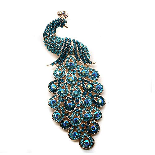 Buorsa Elegant Fancy Vintage Style Peacock Bird Rhinestone Crystal Brooch Pin for Women