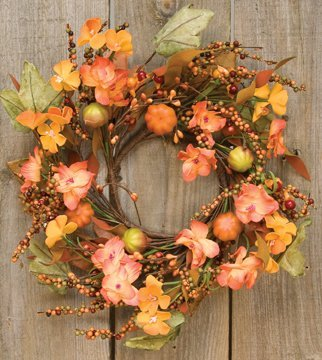 Mini Wreath Fall Flowers Mini Pumpkins Leaves Berries Country Primitive Floral Décor ()