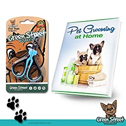 Best Stainless Steel Dog Nail Clippers & Trimmers for Small Breed Dogs, Cats, and Pets With Safety Angled Blade by Green Street Pet Basics