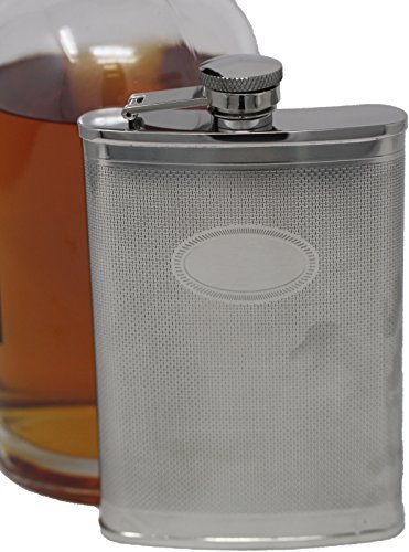Premium 6 oz Plain With Oval Plate 304 (18/8) Food Grade Stainless Steel Hip Alcohol Liquor Flask - BPA free and Leak and Rust Proof - Discrete Drinking (Oval Stainless Steel Flask)