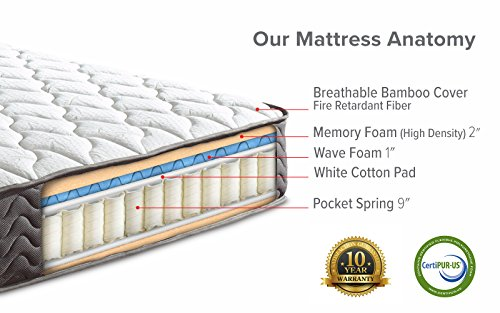 """Swiss Ortho Sleep, 12"""" Inch Certified Independently & Individually Wrapped Pocketed Encased Coil Pocket Spring Contour Mattress (Queen)"""