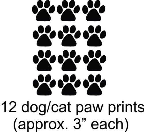 12 Animal Cat Dog Paw Prints Picture Art - Kitchen Living Room Bedroom Home Decorations - DISCOUNTED SALE Sticker - Vinyl Wall Decal Size : 12 Inches X 16 Inches - 22 Colors Available]()