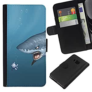 Stuss Case / Funda Carcasa PU de Cuero - Shark & Fish - Funny - HTC One M7