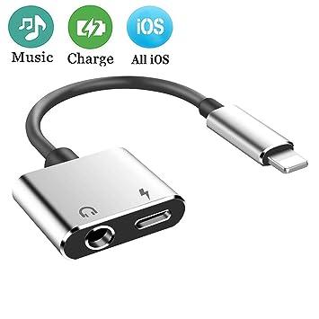 Adaptador de Auriculares para el iPhone 7 Adaptador de Jack Conector de 3.5mm AUX Audio Adaptador 2 en 1 Cable de conexión Adaptador Compatible con ...