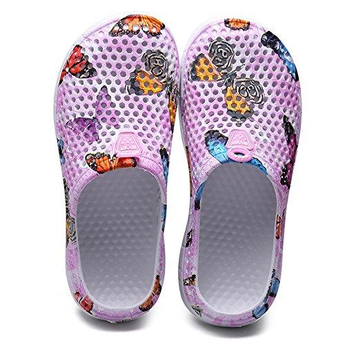 Blankey Womens Garden Clog Shoes Lightweight Beach Slippers Sandals Quick Dry for Men Walking Water Sport 161-pink Butterfly