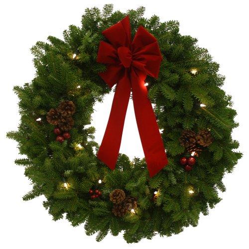 Worcester Wreath 24-Inch Classic Pre-Lit Maine Balsam - Wreath Balsam Fresh