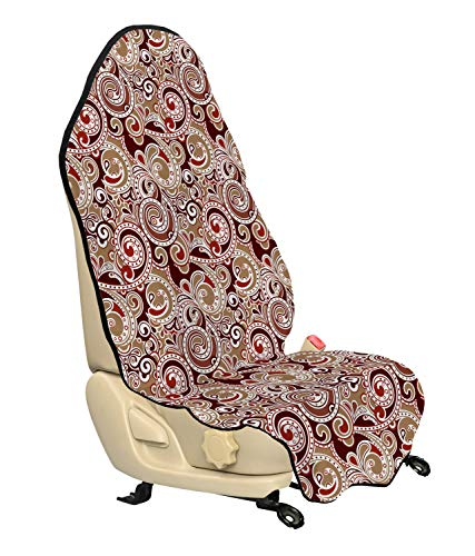 Ambesonne Abstract Car Seat Cover, Abstract Eastern Motifs with Swirls and Paisleys Colorful Oriental Pattern, Car and Truck Seat Cover Protector with Nonslip Backing Universal Fit, Ruby Brown Beige
