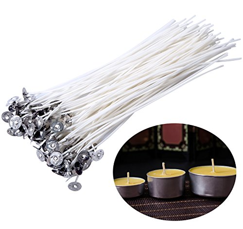 Besteek 100 Piece Natural Candle Wicks, DIY Candle Core, Cotton Wicks for Candle Making & Candle DIY, Low Smoke and Natural