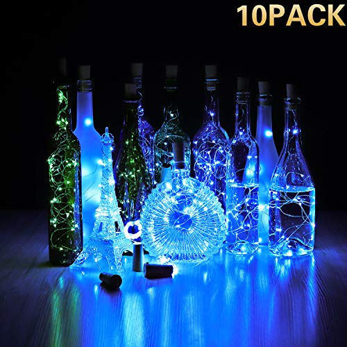 CUUCOR 10 Pack Blue Wine Bottle Lights with Cork, Battery Operated 15 LED Fairy Mini String Lights Copper Wire for DIY, Wedding Centerpiece, Party, Christmas, Halloween ()
