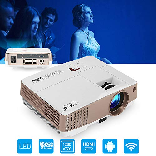 Wireless Mini Projector 2019 Upgraded, Android WIFI 1080P 3300 Lumen LCD Video Projector Support HDMI USB VGA AV Home Theater Entertainment
