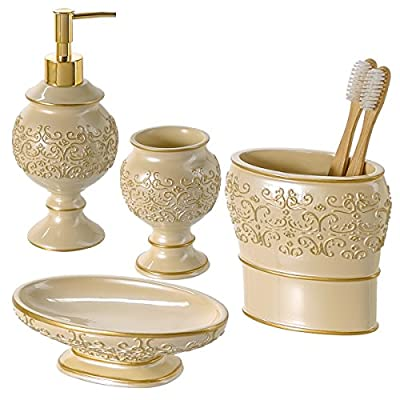 Creative Scents Shannon Bathroom Accessories Set, 4-Piece Bathroom Gift Set Features Soap Dispenser Pump, Toothbrush… - FULL BATHROOM ENSEMBLE SETS: These 4-Piece Bathroom Vanity Accessories Sets Include a Lotion Dispenser, Tumbler Holder, Soap Dish and Toothbrush Holder. DECORATE YOUR BATH: With an Enchanting Mix of Color and an Eye-Catching Relief Pattern, This Bathroom Accessories Set Complements Any Modern Bathroom That Will Wow Your Guests. DESIGNED TO LAST: The Bath Accessories Set Is Made Using Quality Resin That Lasts for Ages Even When Exposed to The Humid Conditions of Your Bathroom. - bathroom-accessory-sets, bathroom-accessories, bathroom - 51%2BGBzDK2EL. SS400  -