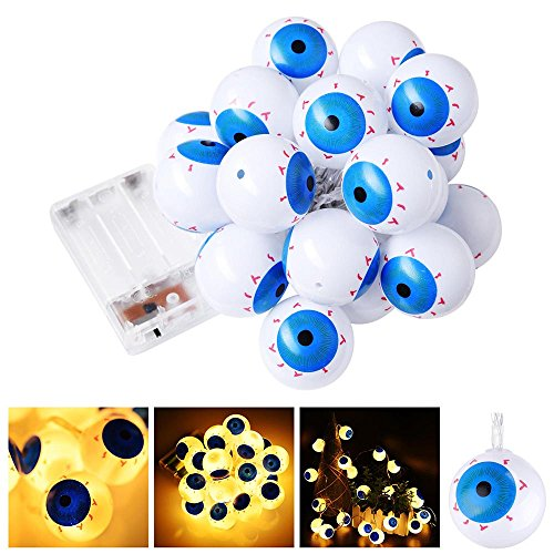 Yescom LED String Light 6.5' 20 LED 2 Mode Eyeball Halloween Party Home Indoor Outdoor Decoration -