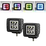 DiGo 1 Pair 18W 3inch Off road Led work light with Chasing RGB Halo Driving Fog Lights by remote control for SUV Boat Truck Hunting Bumper 1 year warranty IP67 waterproof